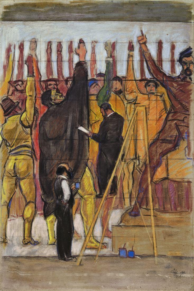 Emil Orlik, Ferdinand Hodler bei der Arbeit am Hannoveraner Wandbild. 1913. Pastell auf Karton. 74,6 x 49,7 cm